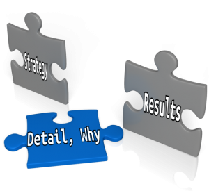 Pieces of a jigsaw: Details, why, Results; Strategy